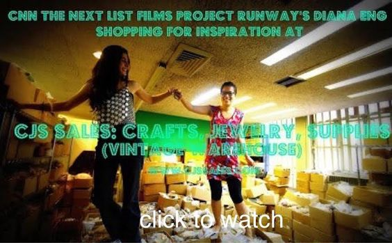 Finally got a copy of the episode: CNN The Next List Films Project Runway's Diana Eng Design Studio Shopping For Inspiration CJS Sales Ltd: Crafts, Jewelry, Supplies (Specializing In Vintage) http://wp.me/p2WKIL-8C Check it out! www.cjssales.com
