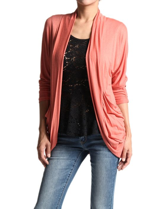 Stylish Drape Jersey Knit 3/4 Sleeve OPEN CARDIGAN Rounded Hem Pocket