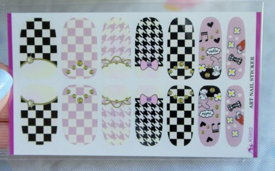 Lolita nails checkered nails houndstooth nails by GlamourFavor