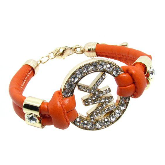 Michael Kors Rhinestone Logo Orange Accessories Outlet