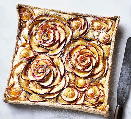An elegant apple and marzipan dessert with a pretty floral design that tastes as good as it looks. Serve it warm or cool, with a scoop of crème fraîche or vanilla ice cream
