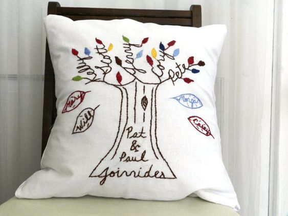 Personalized Family Pillow  Cover. Falling Leaves. Mother's Day. Anniversary. Birthday Gift. Parents of the Bride. on Etsy, $69.00