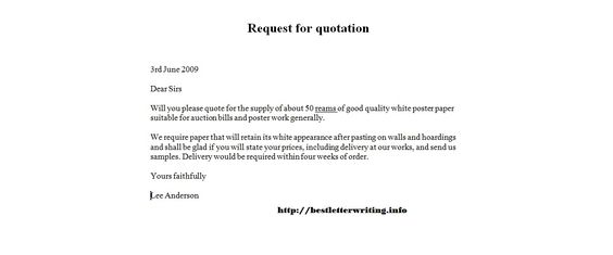 Request For Quotation Examplebusiness Letter Examples Business
