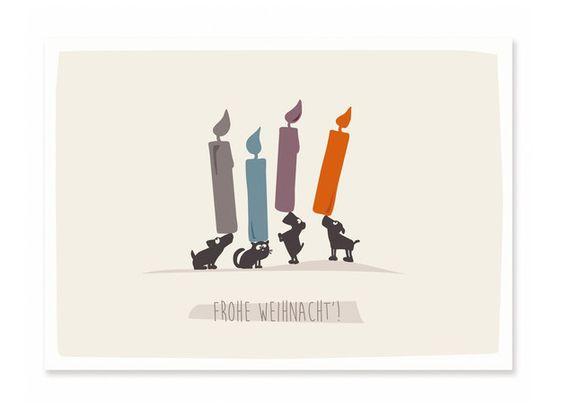 Humor - Postkarte Frohe Weihnacht' - ein Designerstück von catsonappletrees bei DaWanda