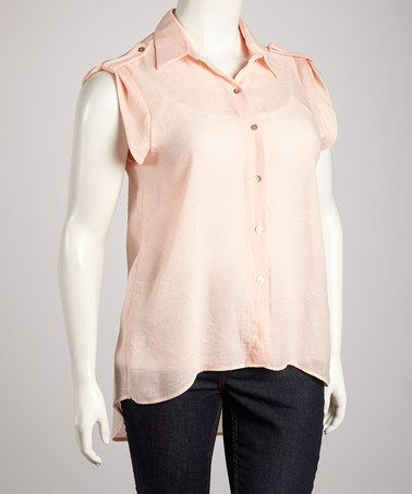 Take a look at this Peach Surplice Back Button-Up Top - Plus by Yummy on #zulily today!
