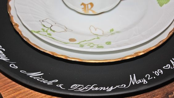 Chalkboard China Charger - have a calligrapher write your names and wedding date on the chargers for a beautiful keepsake