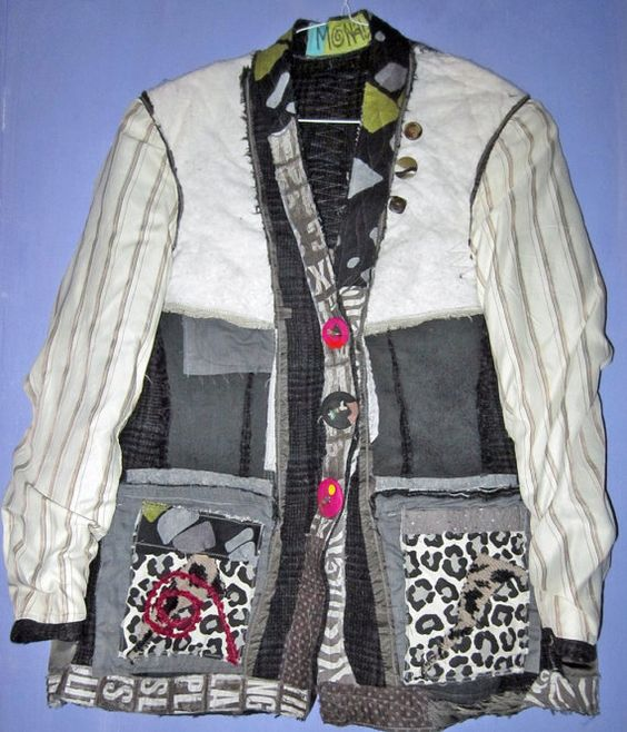 Upcycled wool jacket one of a kind shabby chic fits by monapaints, $395.19