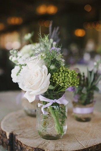Rose and mason jar centerpiece - Mount Rose Wedding