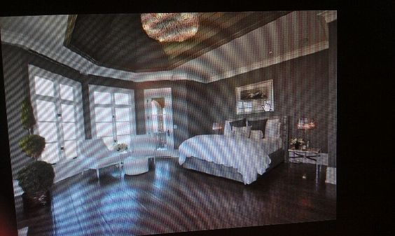 Bedroom I found online somewhere. Love the ceiling and chandelier!