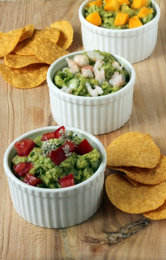 Shimp, Mango and Traditional Trio of Guacamole. Great for a party, or any true guacamole addict.