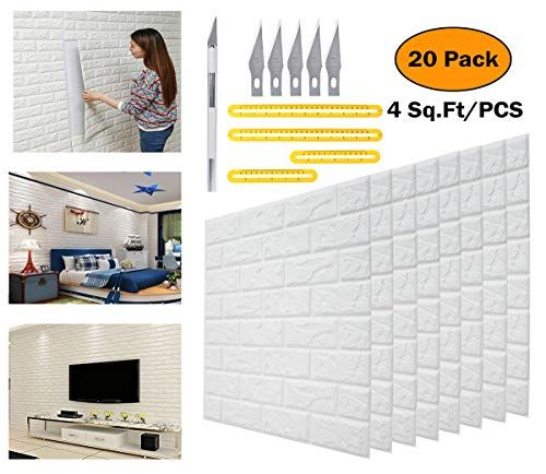Deelf 20 Pcs 3d Brick Wallpaper Peel And Stick Panels White Brick Textured Effect Wall Decor A Brick Wallpaper Peel And Stick Brick Wallpaper Faux Brick Walls