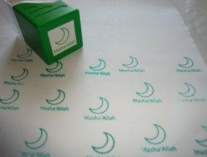 Mashallah Crescent Stamp (Green)   The Muslim Sticker Company