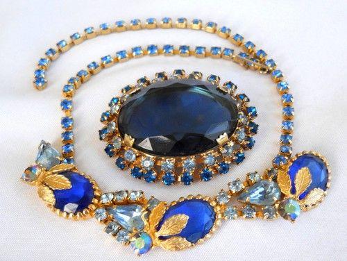 Juliana style Open Back RHINESTONES BROOCH NECKLACE LOT  om3707