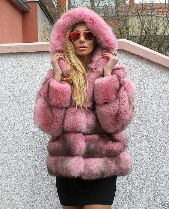 Pink fur hoody