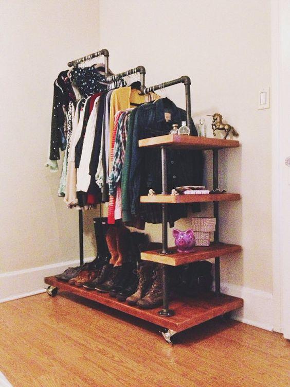 Stair Step Industrial Garment Rack (DIY Possibility) | Tyler Kingston Wood Co