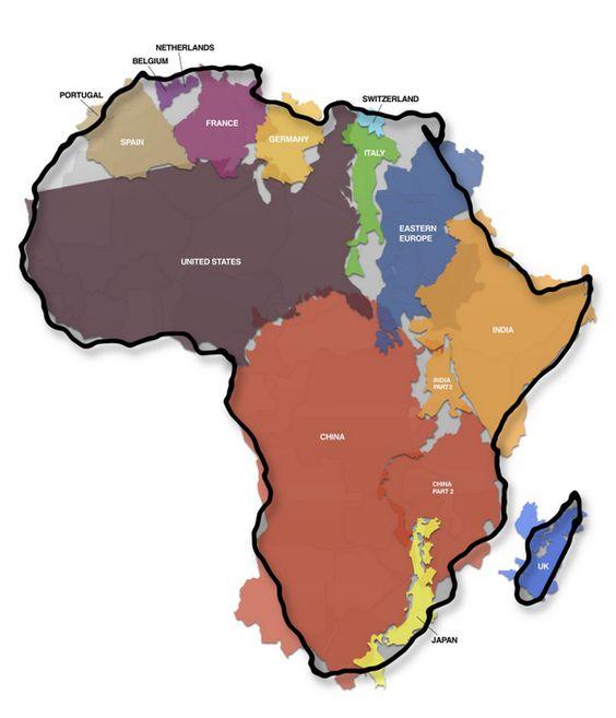 La superficie de l'Afrique englobe la Chine, les Etats-Unis, une bonne partie de l'Europe...