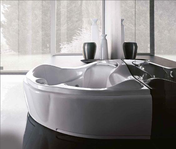 Treesse's modern shape large corner bathtub / Haiti Collection