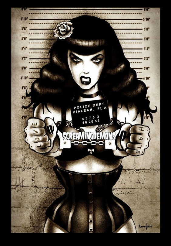 Bettie Page Art Print by Marcus Jones 11.5 x 8 approx via Etsy