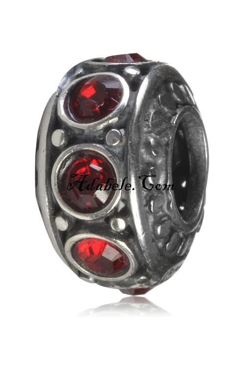 This beautiful ruby red July birthstone .925 Sterling Silver European charm fits Pandora, Biagi Trollbeads, Chamilia, and most charm bracelets find out more at adabele.com