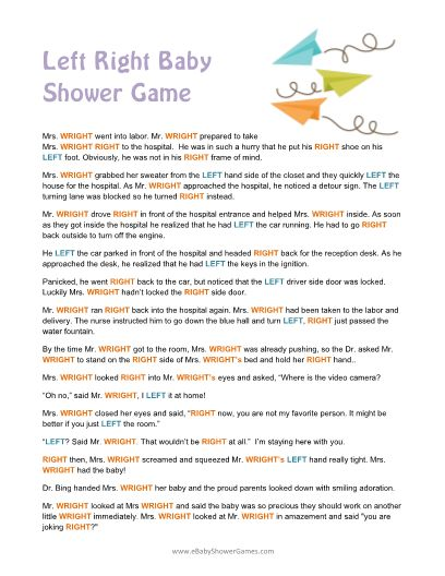 Printable Left Right Baby Shower Story Game