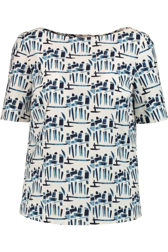 TORY BURCH Printed Stretch-Cotton Poplin Top. #toryburch #cloth #top
