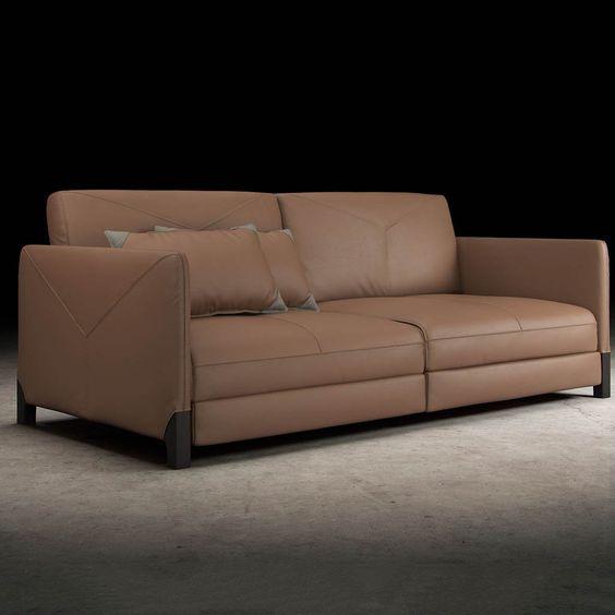 Không gian thoáng đãng cùng bộ sofa da thật phòng khách