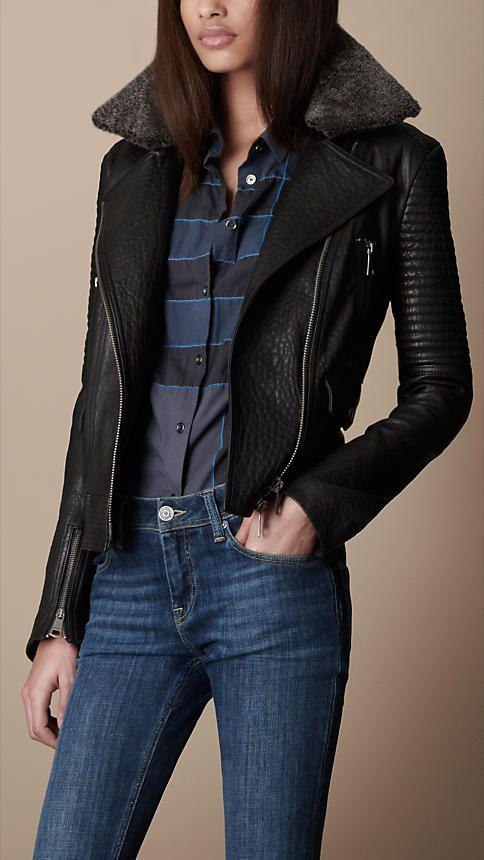 Burberry Brit Shearling Collar Biker Jacket