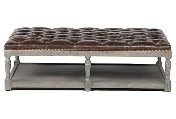 THIS IS THE PERFECT OTTOMAN COFFEE TABLE. Tufted Leather