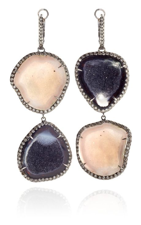 designer: Kimberly McDonald    CLICK PHOTO FOR MORE DETAILS.    Black And White Double Geode And Diamond Earrings In 18K White Gold With Black Rhodium