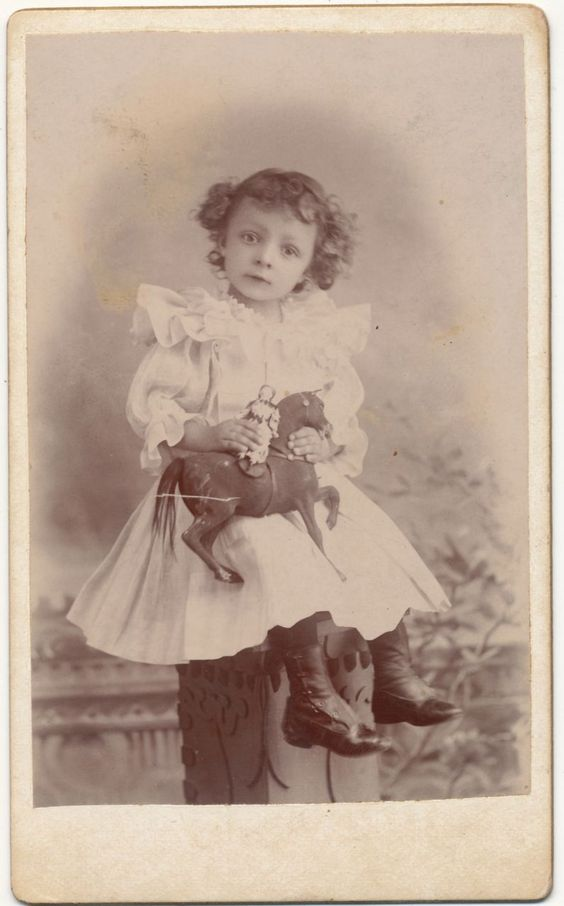 Mexican Antique Victorian Photo, Little Girl with Doll and Toy Horse: