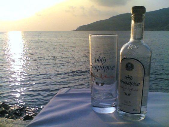 drink ouzo in greece.