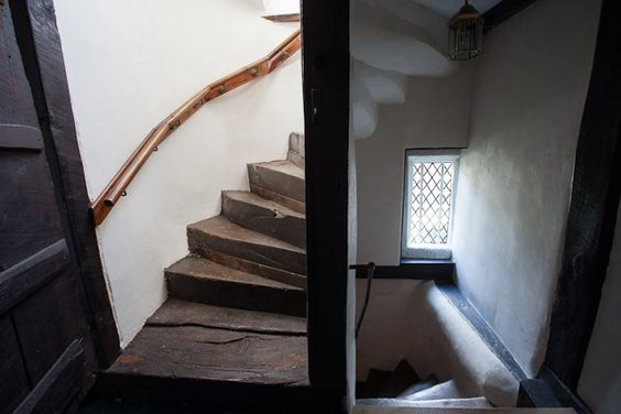 Original oak spiral staircase in the main building at the Tudor Farmhouse Hotel, Clearwell.