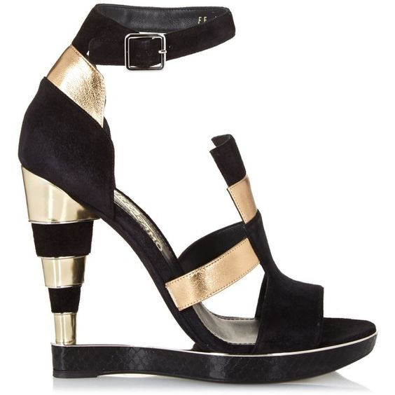 Salvatore Ferragamo Lexus suede and leather wedge sandals (¥77,800) ❤ liked on Polyvore featuring shoes, sandals, heels, black gold, black sandals, wedges shoes, black suede sandals, stacked heel sandals and black heel sandals