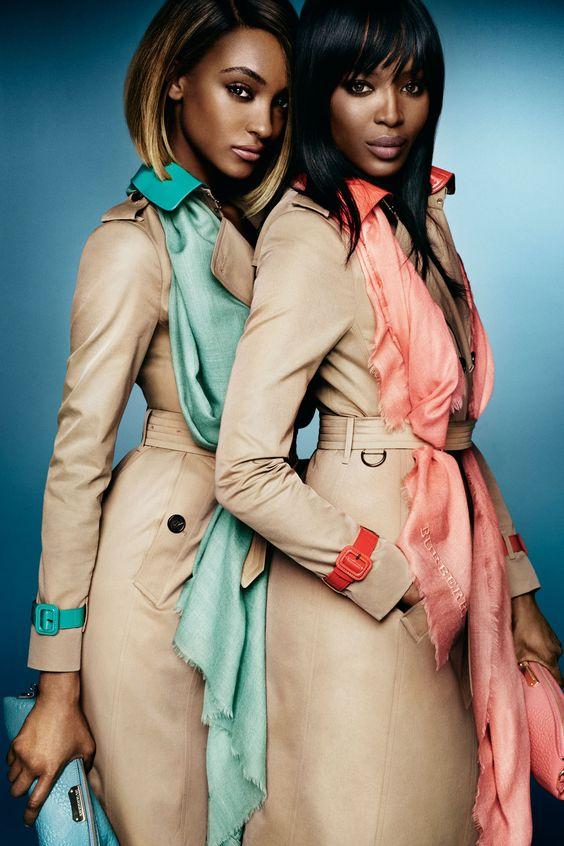 Jourdan Dunn and Naomi Campbell for Burberry