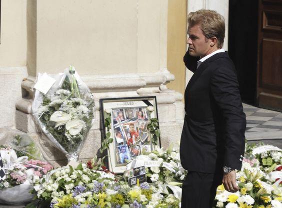 Nico Rosberg at Jules Bianchi's funeral, 1989-2015 #ripjules #ciaojules