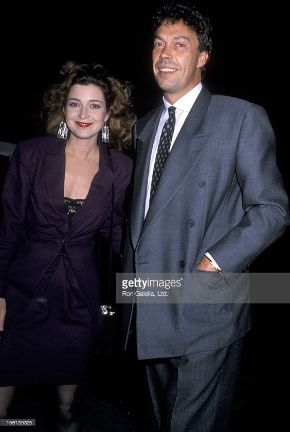 Actor Tim Curry and actress Annie Potts attenidng the premiere party for 'Dirty Dancing' on February 11, 1989 at Spago Restaurant in West Hollywood, California.
