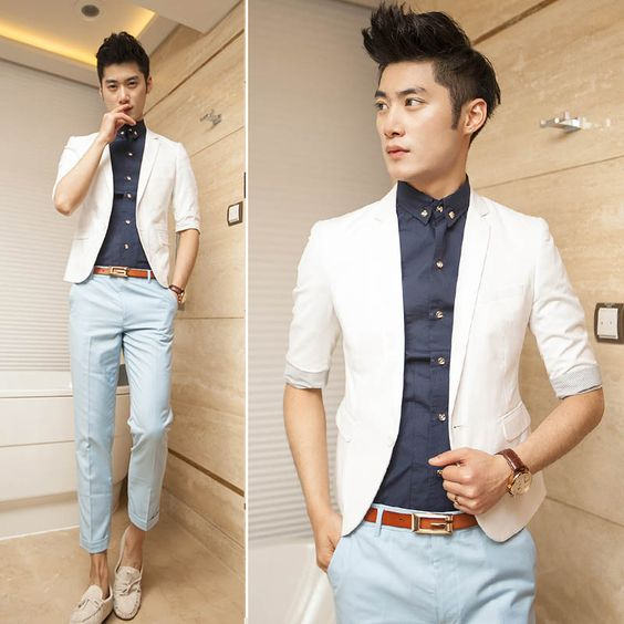Three quarter sleeve suit white male blazer men's summer clothing