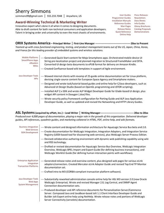 Sample Technical Writer Resume. Sample Of Enterprise Architect