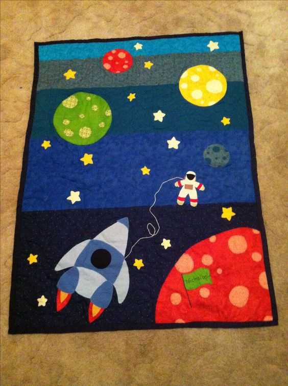 Space quilt I made for little Nic: