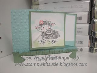 Stampin' Up!- She is an adorable little lamb using the set- 'Easter Lamb', doing a fun fold!  This would make a great baby card too!