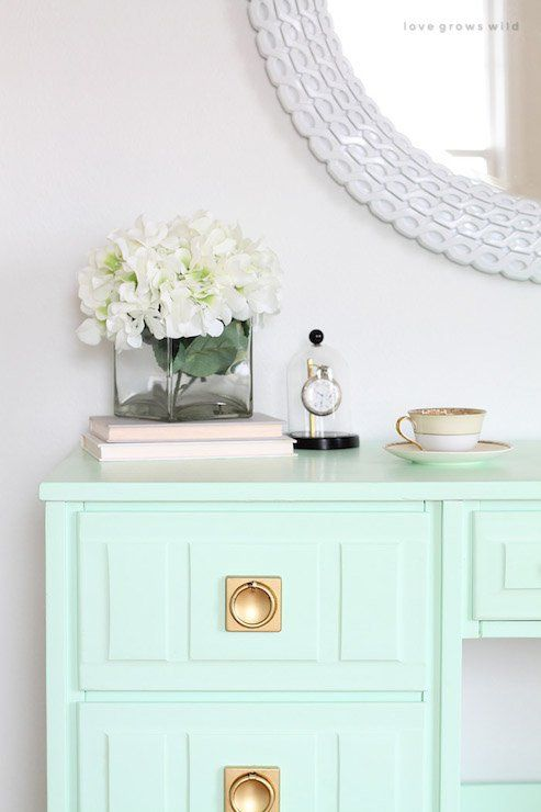 Dresser painted in the color Sweet Pea Olympic paint.  16 of the most versatile paint colors for furniture.