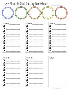 Monthly goal setting worksheet worksheets goal settings for Setting life goals template