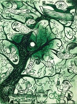 Airs of the Whispering Tree Birds -  Nicky Carey Etching 2013 15 x 20 cm $180.00 Available at www.cascadeprintroom.com.au