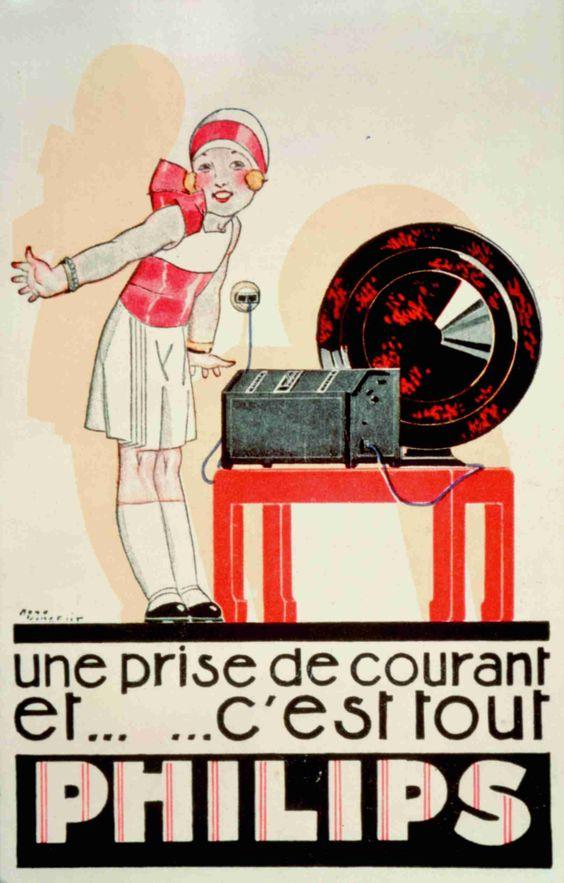 Philips Radio French poster advert | #retro #vintage