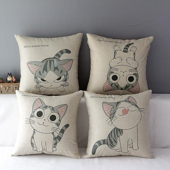 Cat cotton linen throw pillow cover Home FURnishings
