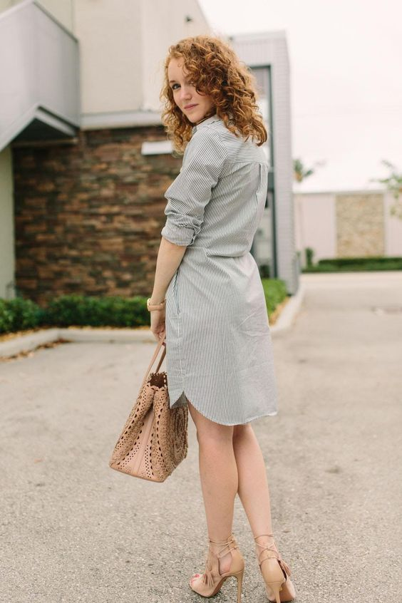 A striped shirtdress can help to elongate a petite frame