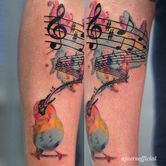 Watercolor music note bird tattoo for Tattoo noten