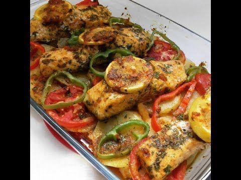 وجبة غذاء سمك السلمون بالخضر مطهو في الفرن بطريقة جد سريعة كيجي بنيييين Youtube Food Meat Chicken