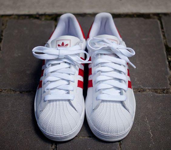 Adidas Originals Superstar 2 blanco y la luz rojo escarlata