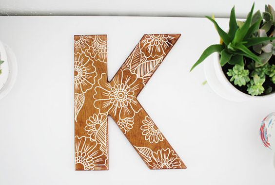 Hand Painted Floral Design on Wooden Letter | Hand Drawn | Gift Idea | Home Decor | Rustic Decor | Henna Design | Gift for Her | Handmade